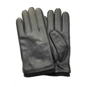 Men lamb/sheep leather fleece lined winter gloves with handsewn