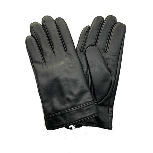 Men lamb/sheep leather cashemere lined gloves with natural black Featured Image