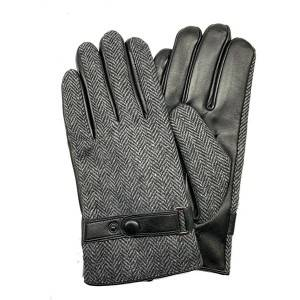Men lamb/sheep leather fleece lined winter gloves WITH LEATHER BELT