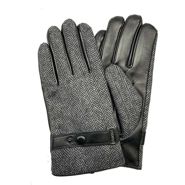 Men lamb/sheep leather fleece lined winter gloves WITH LEATHER BELT Featured Image