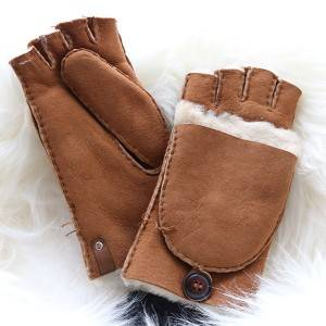 Ladies handsewn Sheepskin fingerless Mittens with a folding fingers cover