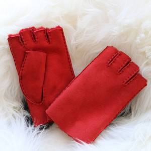 Ladies Sheepskin fingerless Mittens with handstitched craf