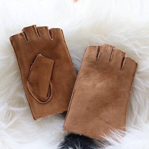 Ladies classical Sheep shearling fingerless Mittens Featured Image