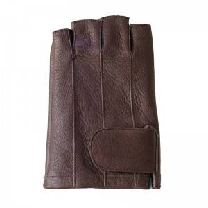 Fingerless driving fashion deerskin gloves with three points