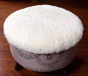 Genuine lambskin sheepskin fur chair sofa seat cushions round cushion