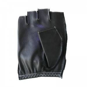 Half fingered/fingerless driving fashion deerskin gloves