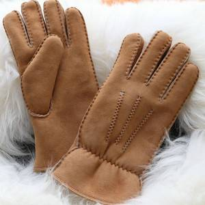 OEM/ODM Supplier Leather Ski Gloves Mens - Hand stitched Sheepskin gloves for men with elastics – Fanshen