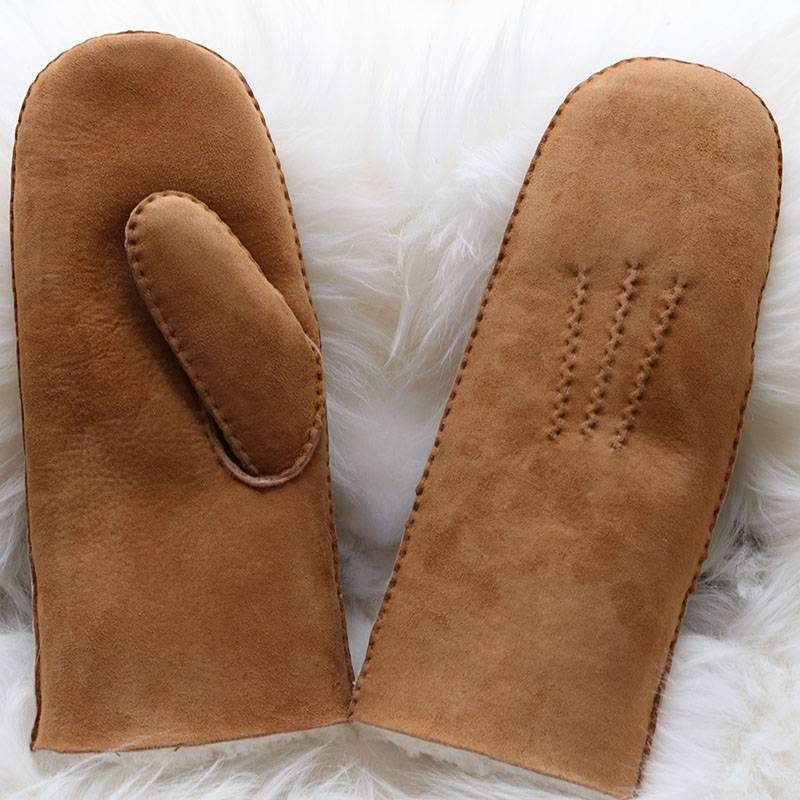 Handmade classical sheepskin mittens for ladies with wool out trim Featured Image