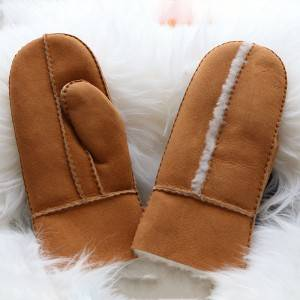 Handmade classical sheepskin mittens for ladies with wool out trim