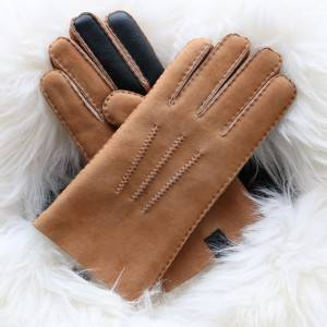 Handsewn craftsmanship Sheepskin gloves for men with touch screen fingers