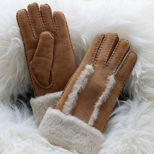 Ladies genuine lamb skin gloves with wool out trim