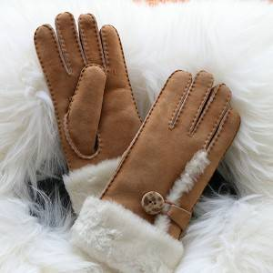 Ladies handmade whole sheepskin gloves with a buckle Feature