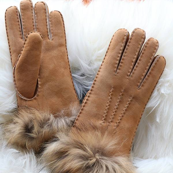 Ldies handmade suede Merino sheepskin gloves with fox fur cuff Featured Image