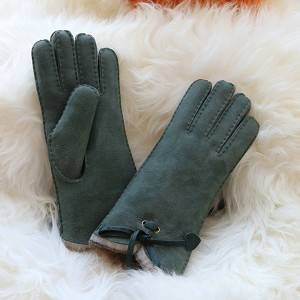Handmade ladies double faced sheepskin gloves with open end cuff