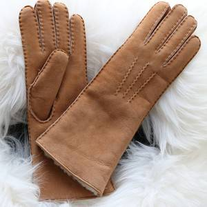 long style Ladies handmade Merino sheep shearling gloves