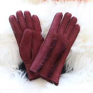 handsewn double faced sheep shearling ladies gloves with wool out trim