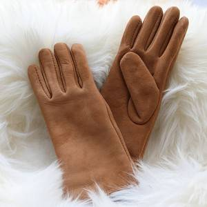 Suded sheepskin ladies gloves with inside seam