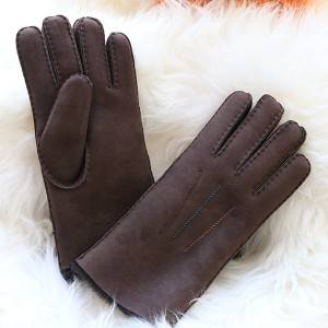 Classical merino lambskin ladies gloves with colourful seam