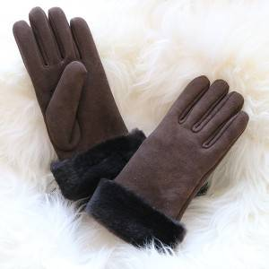 Plain and Classical merino sheepskin ladies gloves with inside seam