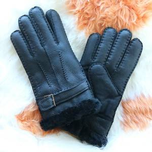 Pieces suede lambskin/sheepskin gloves characteristic leather belt