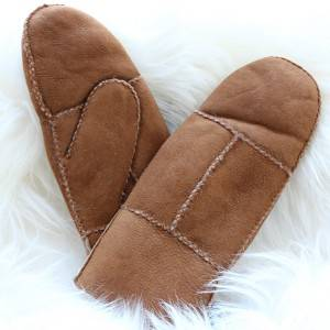 Patches/Pieces suede sheepskin mittens