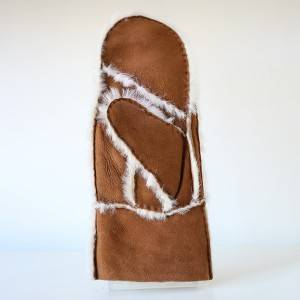 Patches/Pieces suede sheepskin mittens feature wool out trim