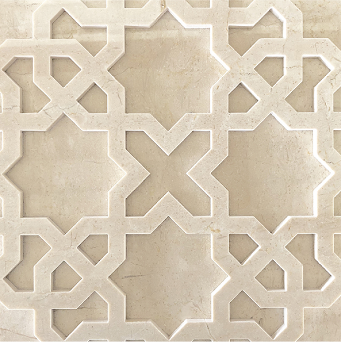 Cream Marfil marble hollowed-out lattice three-dimensional sculpture wall