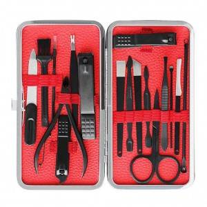 17 in 1 leather manicure kit grooming manicure set