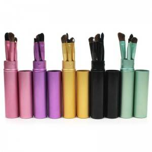 Wholesale Custom 5Pcs Premium Travel Portable mini makeup brush set eye shadow Eyeliner Eyebrow lip make up brush set