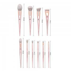 Wholesale Professional 10 pcs Rose Gold Plastic Plating Handle Blush Make Up Brushes Girls Daily Makeup Brush Set With Case