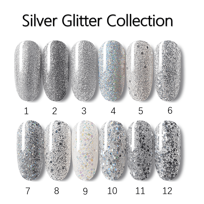 Silver Glitter Gel Polish with Shinny shimmer bling your nail bling nail art