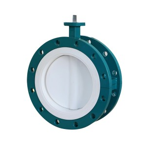 PTFE Fully lined flange butterfly valve