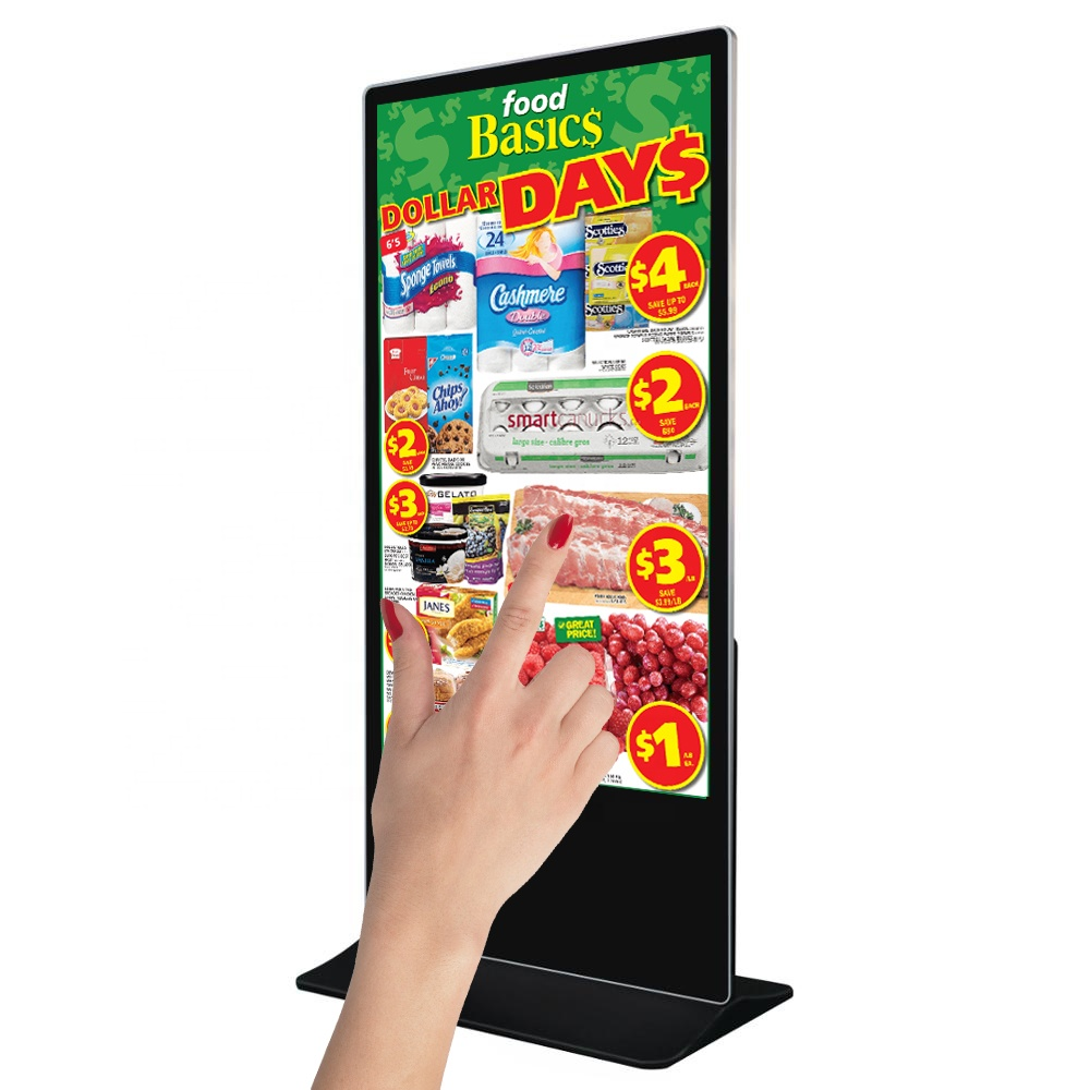 43 inch touch floor standee display totem, online wifi/LAN CMS software cloud content management(Option)
