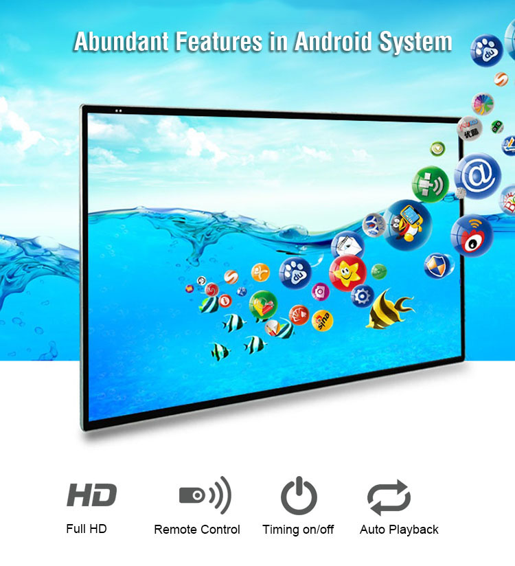 55 inch wall mount advertising screen digital signage, support Wifi/LAN/Android/Windows/Linux for option