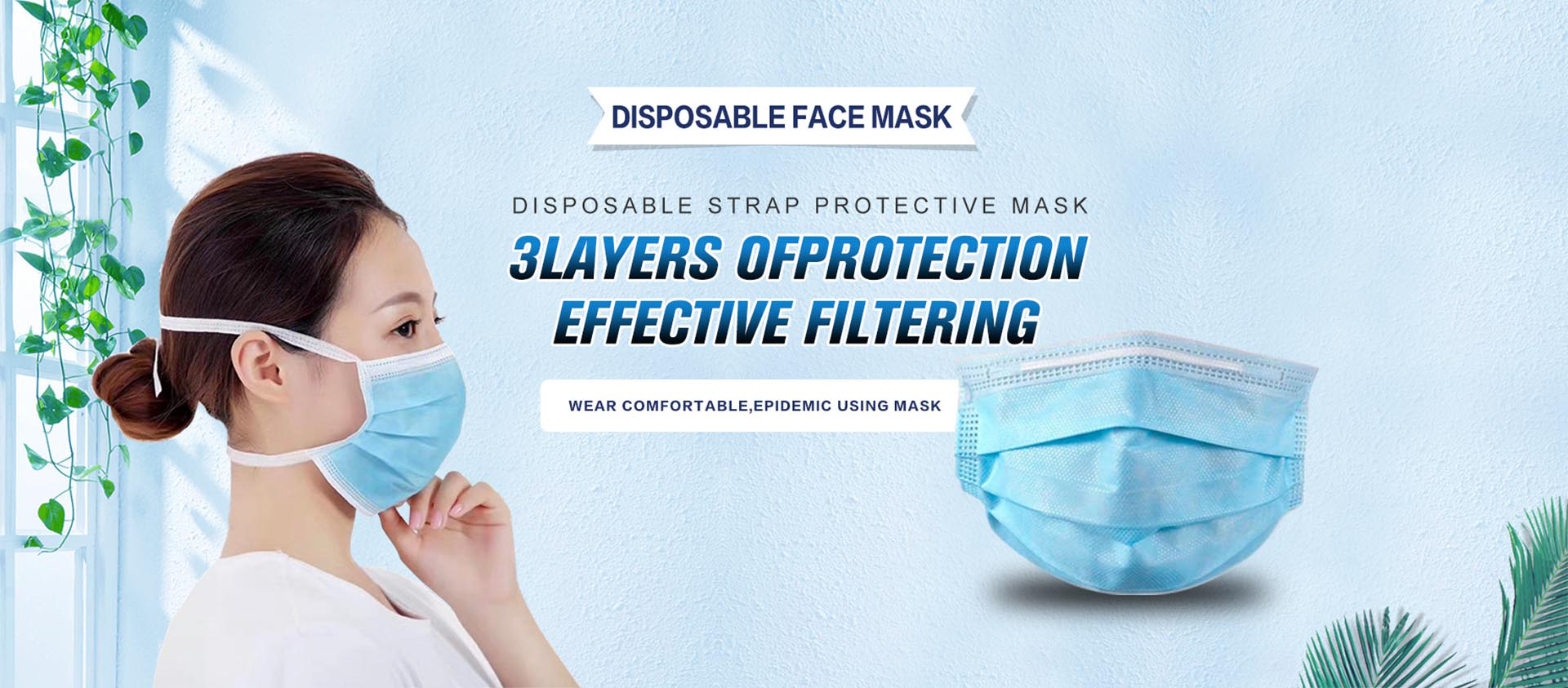 Hot selling 3-layer bandage face mask disposable face mask medical