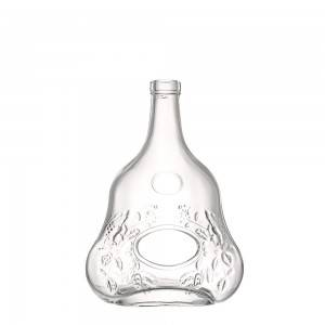 700 ml unique shape flat glass liquor bottle