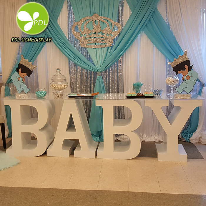New Style High Quality Custom white PVC letter BABY table for Wedding Events Featured Image