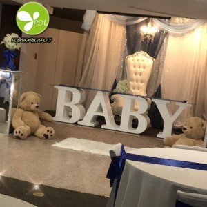 New Style High Quality Custom white PVC letter BABY table for Wedding Events