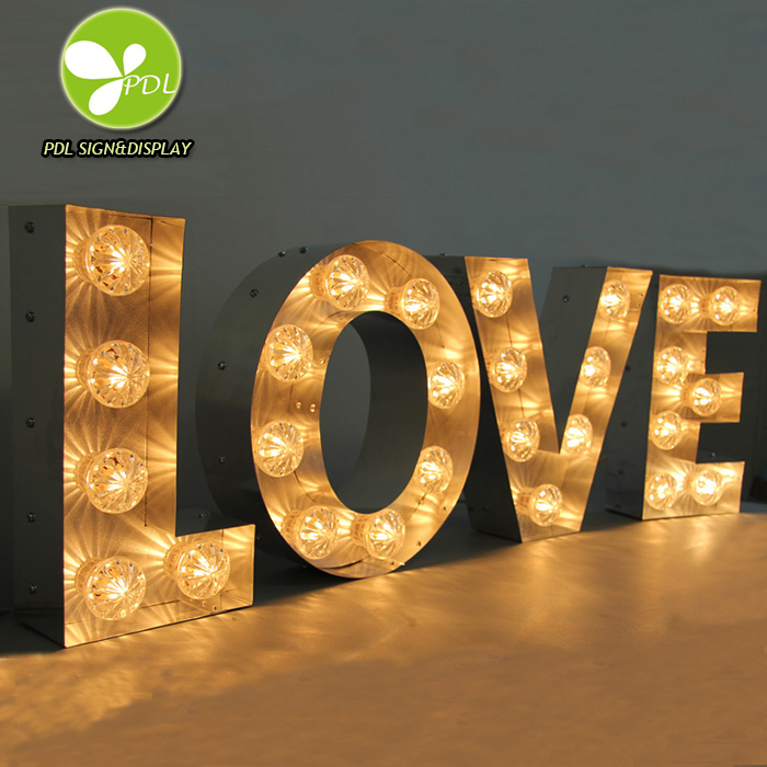 Professional Factory Custom Made LED Light Up Marquee Signs LED Bulbs for Wedding Events Featured Image