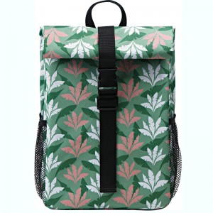 Polyester fabric cooler backpack with fashion spring summer pattern design
