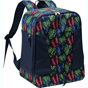 Polyester fabric cooler backpack with fashion pattern