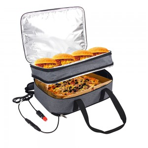 Cationic polyester extensible casserole carrier bag with heating panel
