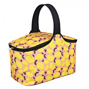 Polyester fabric picnic cooler basket for family party