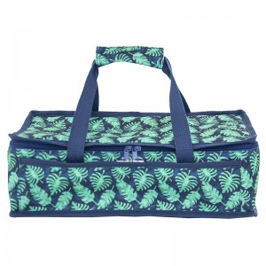 Polyester fabric casserole carrier bag with double handle