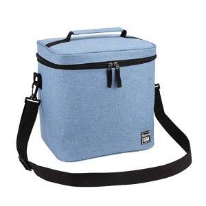Matt polyester lunch bag lunch cooler bag with handle and shoulder strap