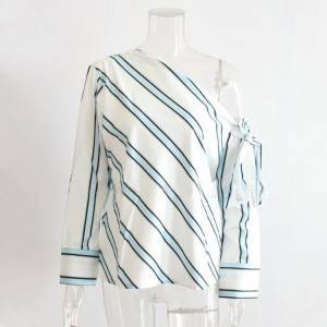 Fashion Diagonal Stripes Long Sleeve Women T-Shirt PY-CT004