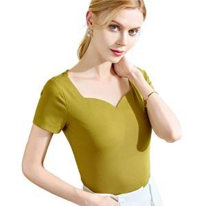 Retro Square Collar Short Sleeve Woen T-Shirt PY-DT004