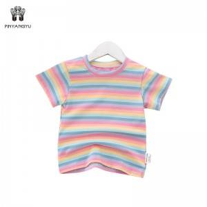 Color Stripe Short Sleeve Girl T-Shirt PY-GD003