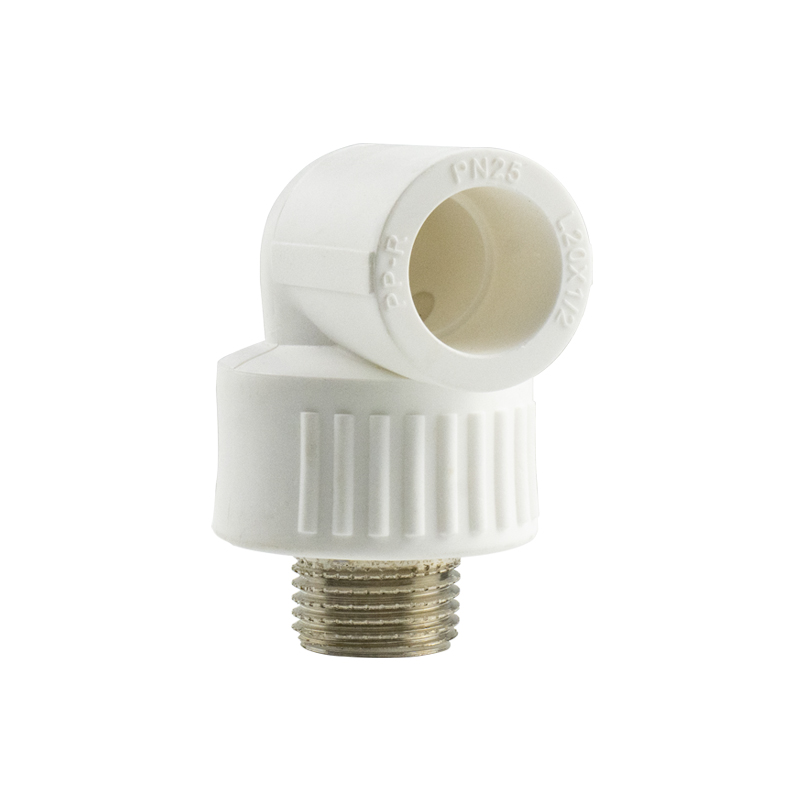 White color PPR brass insert male elbow