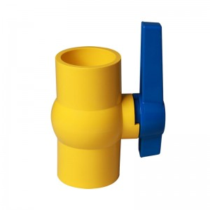 PVC compact ball valve yellow body blue handle